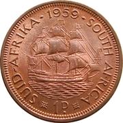 1 penny - Elizabeth II (1ere effigie) -  revers