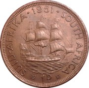 1 penny - George VI (SUID AFRIKA - SOUTH AFRICA) -  revers