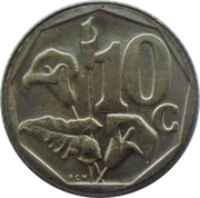 10 cents (en afrikaans - SUID AFRIKA) -  revers