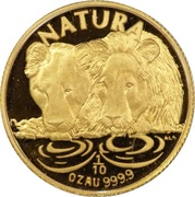 1/10 d'once d'or - Natura Lion -  revers