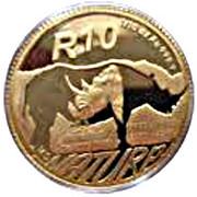 1/10 d'once d'or - Rhinocéros noir – revers