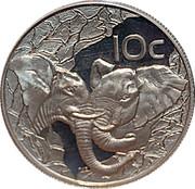 10 cents Éléphant, force de l'Afrique – revers