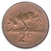 2 cents - Swart (en afrikaans SUID AFRIKA) -  revers
