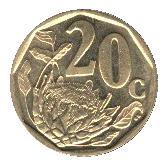 20 cents (en afrikaans - SUID AFRIKA) -  revers