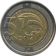 5 rand (20 ans de liberté) – revers