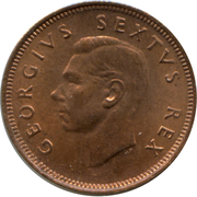 ¼ penny - George VI (SOUTH AFRICA - SUID AFRIKA) -  avers