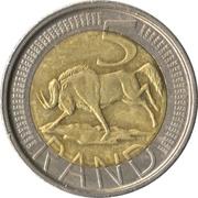 5 rand (en Tsonga et Anglais - AFRIKA DZONGA - SOUTH AFRICA) -  revers