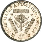 "3 pence - George V (Type 2 - ""SUID-AFRIKA"") -  revers"