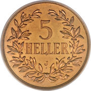 5 heller - Wilhelm II – revers