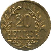 20 heller - Wilhelm II (laiton) – revers
