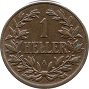 1 heller - Wilhelm II – revers