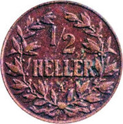 ½ heller - Wilhelm II – revers