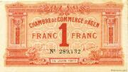 1 franc - Chambre de Commerce d'Agen [47] <Sans filigrane> – avers
