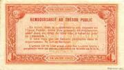 1 franc - Chambre de Commerce d'Agen [47] <Sans filigrane> – revers