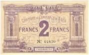 2 francs - Chambre de Commerce d'Agen [47] <Sans filigrane> – avers