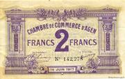 2 francs - Chambre de Commerce d'Agen [47] <Filigrane abeilles> – avers