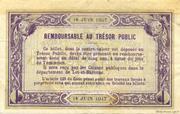 2 francs - Chambre de Commerce d'Agen [47] <Filigrane abeilles> – revers