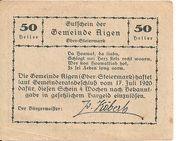 50 Heller (Aigen) – revers