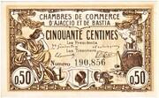 50 centimes - Chambres de Commerce d'Ajaccio et de Bastia [20] – avers