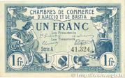 1 franc - Chambres de Commerce d'Ajaccio et de Bastia [20] – avers