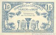 1 franc - Chambres de Commerce d'Ajaccio et de Bastia [20] – revers