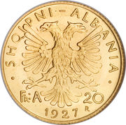 20 franga ari (Royaume) – revers