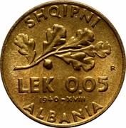 0.05 lek (Occupation italienne) – revers