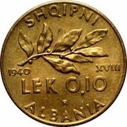 0.10 lek (Occupation Italienne) – revers