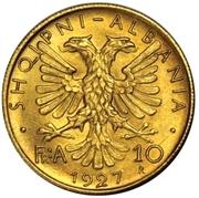 10 franga ari (Royaume) – avers