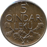 5 qindar Leku (Royaume) – revers