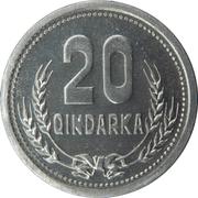 20 qindarka (république populaire socialiste) – revers