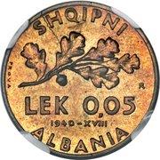 0.05 Lek - Vittorio Emanuele III (Essai) – revers