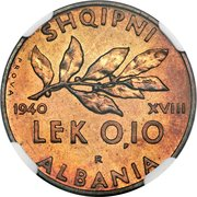 0.10 Lek - Vittorio Emanuele III (Essai) – revers