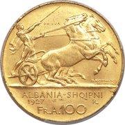 100 Franga Ari - Zog I (Essai) – revers