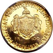 100 Franga Ari - Zog I (Indépendance - Essai) – revers