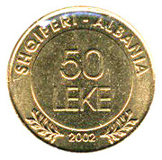 50 leke (90ème anniversaire de la Déclaration d'indépendance) – avers