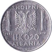 0,20 lek (Occupation Italienne) – revers