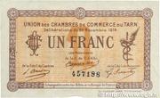 1 franc - Union des chambres de Commerce du Tarn [81] – avers