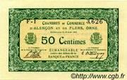 50 centimes - Chambres de commerce d'Alençon et de Flers [61] <Vert, sans filigrane> – avers