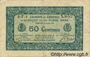 50 centimes - Chambres de commerce d'Alençon et de Flers [61] <Vert, filigrane abeilles> – avers