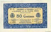 50 centimes - Chambres de commerce d'Alençon et de Flers [61] <Bleu, filigrane abeilles> – avers