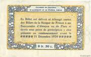 50 centimes - Chambres de commerce d'Alençon et de Flers [61] <Bleu, filigrane abeilles> – revers