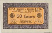 50 centimes - Chambres de commerce d'Alençon et de Flers [61] <Mauve, filigrane abeilles> – avers