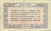1 franc - Chambres de commerce d'Alençon et de Flers [61] <Bleu, sans filigrane> – revers