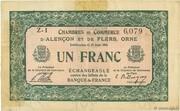 1 franc - Chambres de commerce d'Alençon et de Flers [61] <Vert, filigrane abeilles> – avers