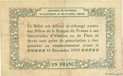 1 franc - Chambres de commerce d'Alençon et de Flers [61] <Vert, filigrane abeilles> – revers