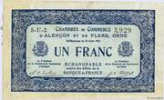 1 franc - Chambres de commerce d'Alençon et de Flers [61] <Bleu, filigrane abeilles> – avers