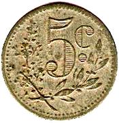 5 centimes (Alger chambre de Commerce) – revers