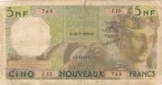 5 Nouveaux Francs – avers
