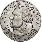 5 reichsmark (Martin Luther) -  revers